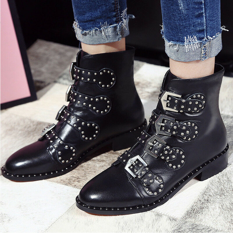 Womens Genuine Leather Buckles Studs Flat Ankle Boots Punk Punk Punk Rivet shoes Warm New 6998f7