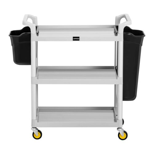 2 Containers 3 Shelves Cleaning Housekeeping Trolley 150kg Hotel Service Cart