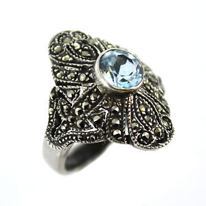 Round-Faceted-Blue-Topaz-amp-Marcasite-Antiqued-Sterling-Silver-Ring-Size-6-5