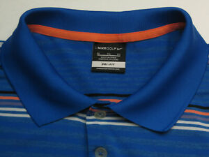 Nike-Golf-Men-039-s-XL-Short-Sleeve-Blue-Striped-88-Polyester-Polo-Shirt-6084
