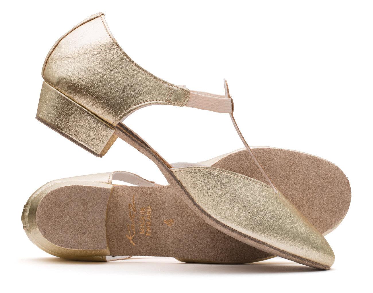 Ladies Girls Gold Metallic PU Dance Greek Sandal Teaching Ballroom Shoe Katz