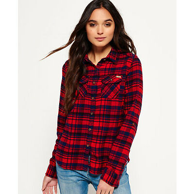 New Womens Milled Flannel Shirt Ontario Navy Check