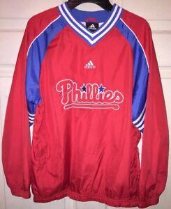 Youth-Size-10-12-Adidas-Philadelphia-Phillies-Long-Sleeved-Nylon-Pullover