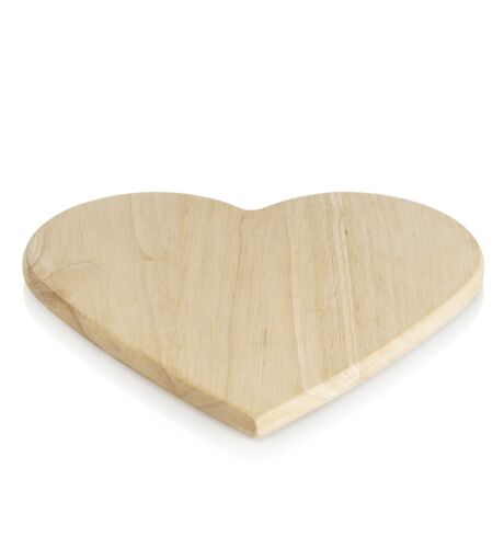 Chopping board heart wood 8 x 8 inches 20 x 21 cm cutting wooden love decoupage