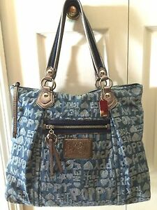 Image Is Loading Rare Retired Coach Poppy Glam Wordblock Blue Tote