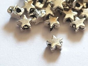50 Tibetan Silver small 4mm//6mm HEART Jewellery making STAR BEADS Spacer