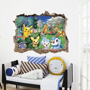 Cartoon Pokemon 3D Animals Wall Stickers For Kids Room Bedroom Decoration C10