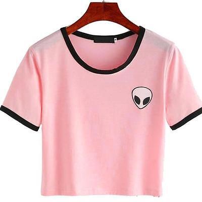 Fashion Women Summer Cotton Tee Blouse Casual Crop Top Alien 3D Print T-Shirt