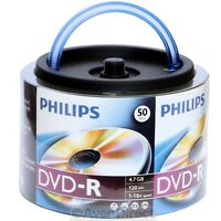 50 Philips 16x 4.7gb Carrying Tote Handle Dvd-r [free Priority Mail]