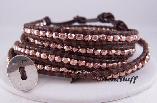 Chan LUU Brown pink gold Vermeil Wrap Bracelet NEW