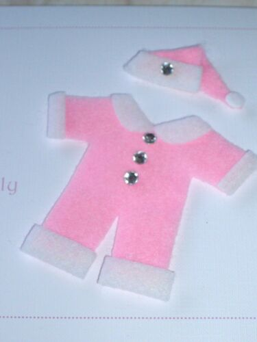 CARD MAKING 7CM X 7CM 2 x DIE CUT FELT PINK BABY SANTA SUIT SET EMBELLISHMENTS