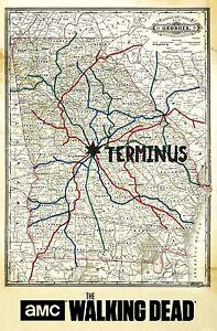 The walking dead terminus map Fabric Poster 20 x 13 Decor 127 eBay