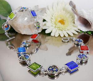 Bezauberndes-Collier-Millefiori-Glas-Lampwork-Silberfoil-Quadrate-VARIABEL