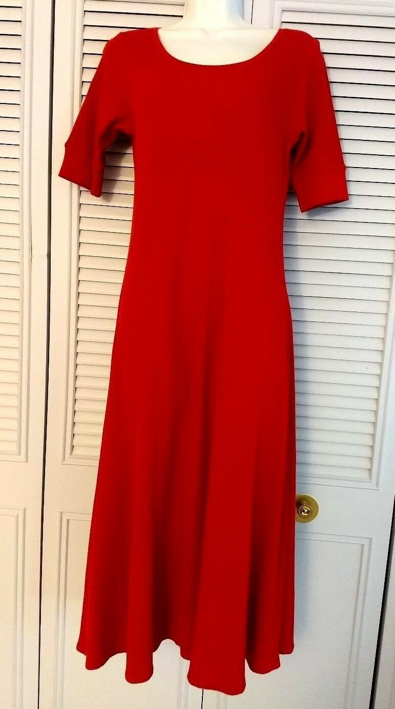 Lauren Ralph Lauren Fit & Flare Red Waffle-Knit Cotton Midi Dress M