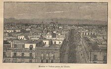 A9796 Messico - Veduta dal Zocalo - Xilografia - Stampa Antica 1906 - Engraving