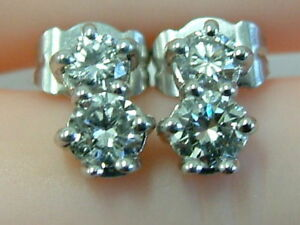 STUNNING-18CT-WHITE-GOLD-DOUBLE-SOLITAIRE-DROP-EARSTUDS-EARRINGS-0-75-CARATS