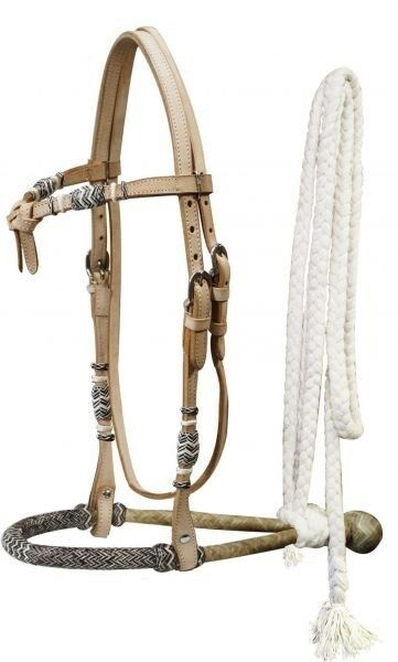 Showman LIGHT OIL Leather Futurity Knot Headstall w  Rawhide Bosal & Mecate Rein