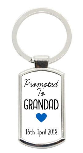 Personalised Sentimental Promoted To Grandad Metal Keyring Birthday Gift Present