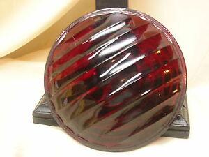 "Vintage Red Wide Light Lens Kopp Glass Railroad Lantern 6 3/8"""