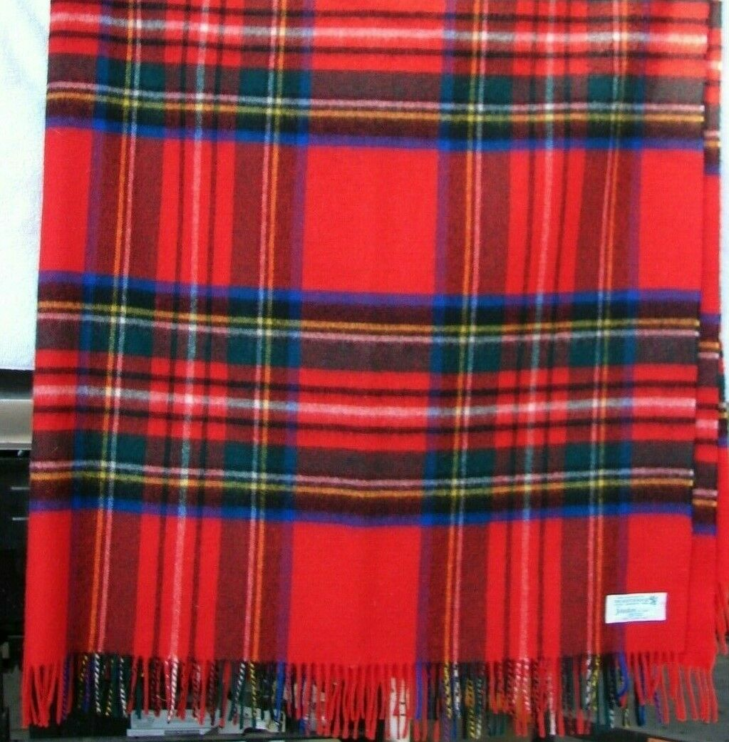Vintage Johnstons of Elgin Scotland 100% laine d'agneau jeté Plaid Rouge 60  X 72