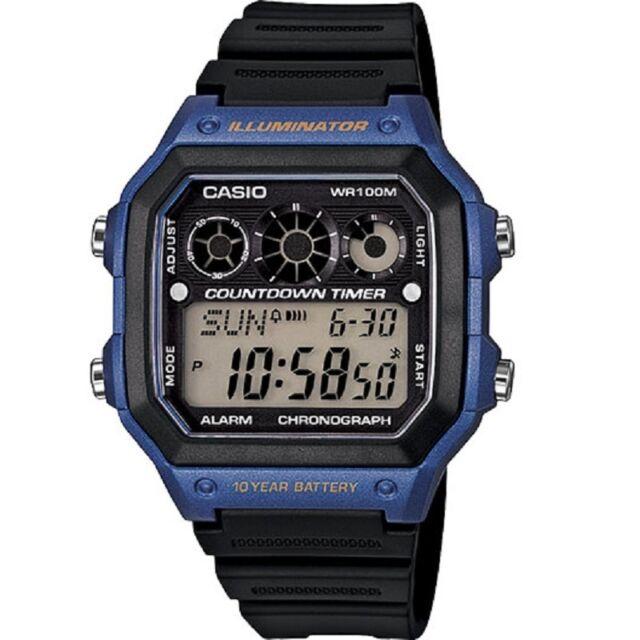 Casio AE-1300WH-2A Blue Illuminator Chronograph Digital Watch With Gift Box