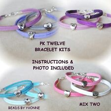 I / TWELVE FAUX SUEDE SILVER SWEETHEART BRACELET KITS JEWELLERY CRAFT MAKING / 2