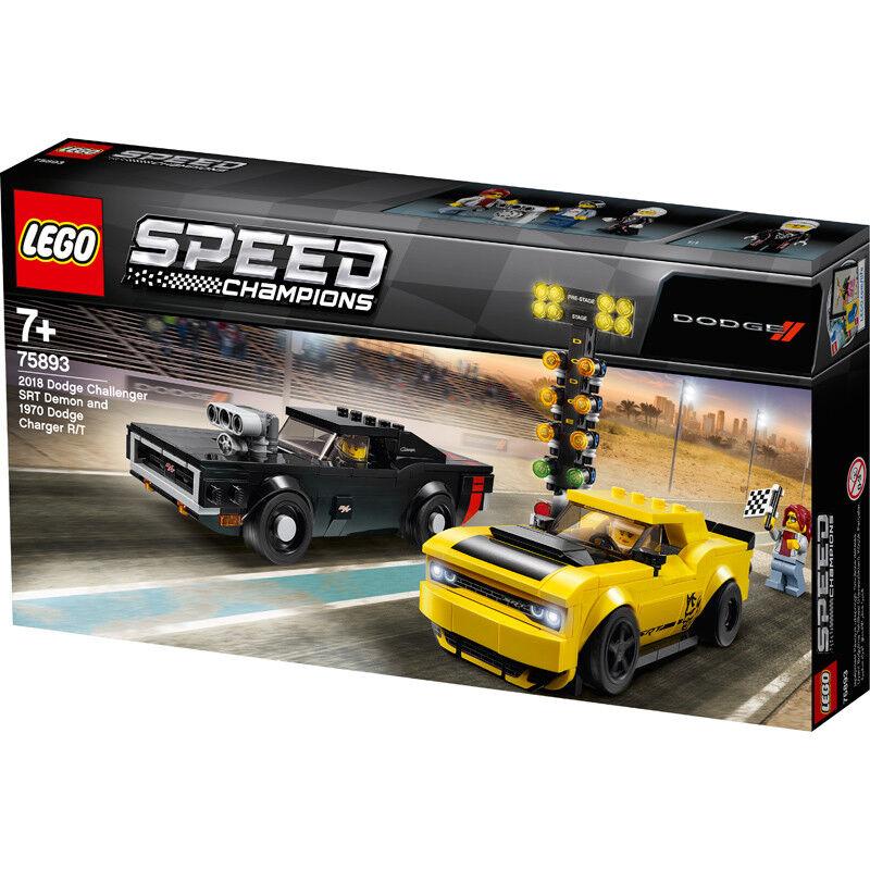 LEGO Speed Champions 2018 Dodge Challenger SRT Démon & 1970 CHARGEUR R T 75893