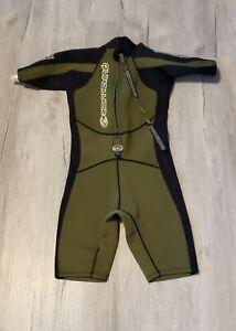 Quiksilver-Syncro-Springsuit-Wetsuit-Green-Zipper-Size-XS