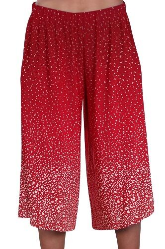 Womens Dotted Wide Leg Culottes Shorts Ladies Palazzo Cropped Trousers Pants