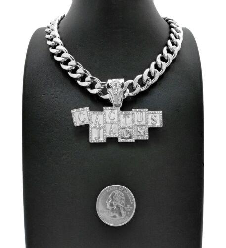 """Hip Hop Iced Silver PT CACTUS JACK Pendant /& 18/"""" 20/"""" 24/"""" Cuban Chain Necklace"""