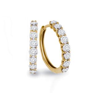 Ohrringe-Creolen-Diamanten-Brillanten-18K-Gelbgold-1-00-Karat-Wesselton-weiss