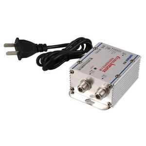 2 Way Output Catv Cable Tv Vcr Antenna Signal Amplifier