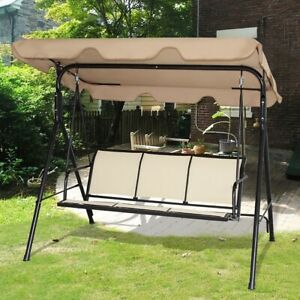 Admirable Details About Outdoor Porch Swing Patio Bench Chair Large Canopy Backyard Deck Garden Brown Onthecornerstone Fun Painted Chair Ideas Images Onthecornerstoneorg