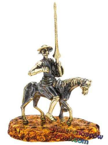 Bronze Solid Brass Baltic Amber Figurine Don Quixote Astride IronWork