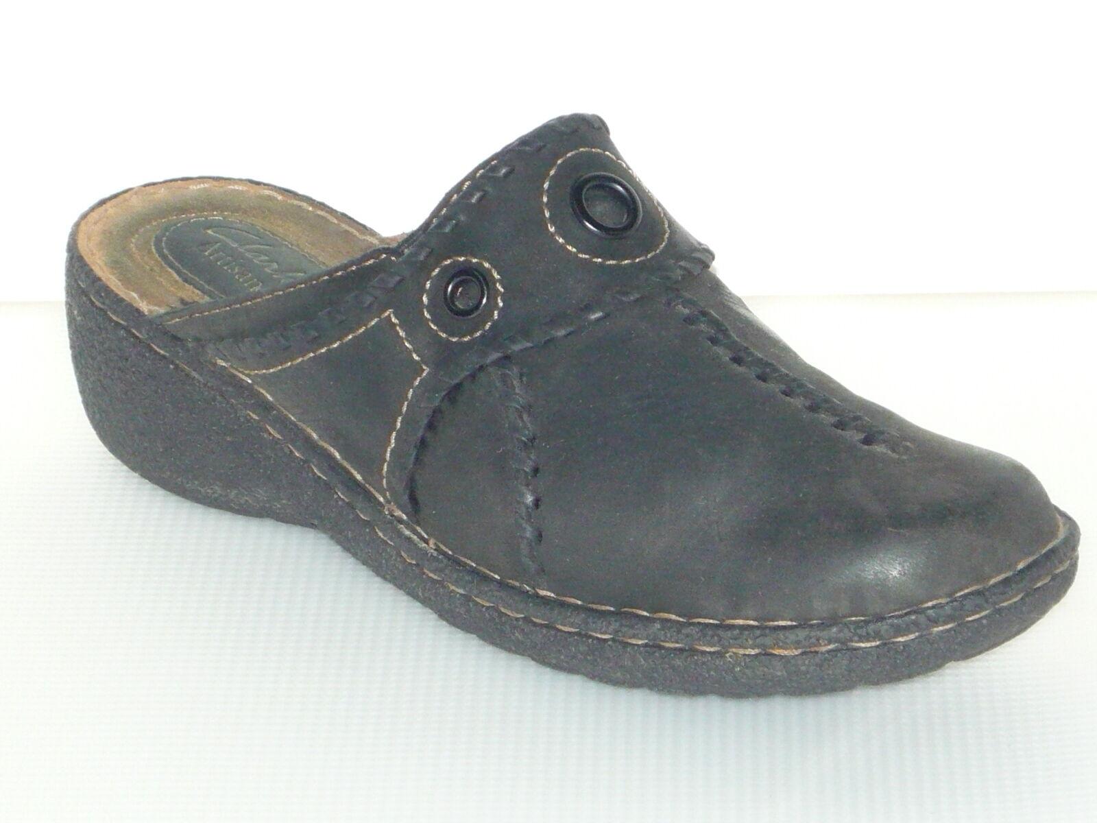 Clarks Artisan Chaussures Femmes Sabots Mules Bas En Cuir Noir Taille 8.5 M