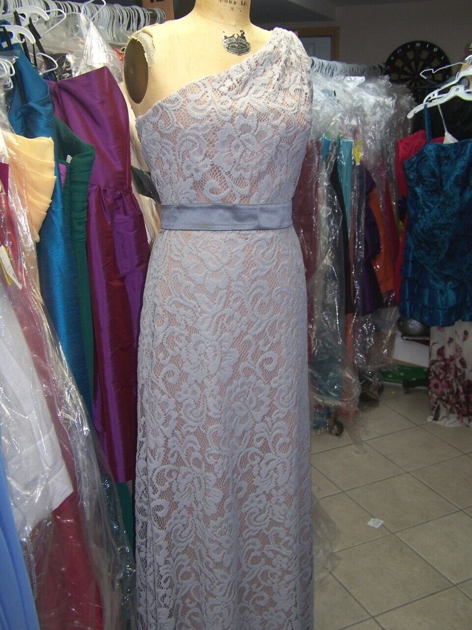 Dessy Bridesmaid, Mother of the bride Dress..# 2850..Cappuccino / Gray...Size 4
