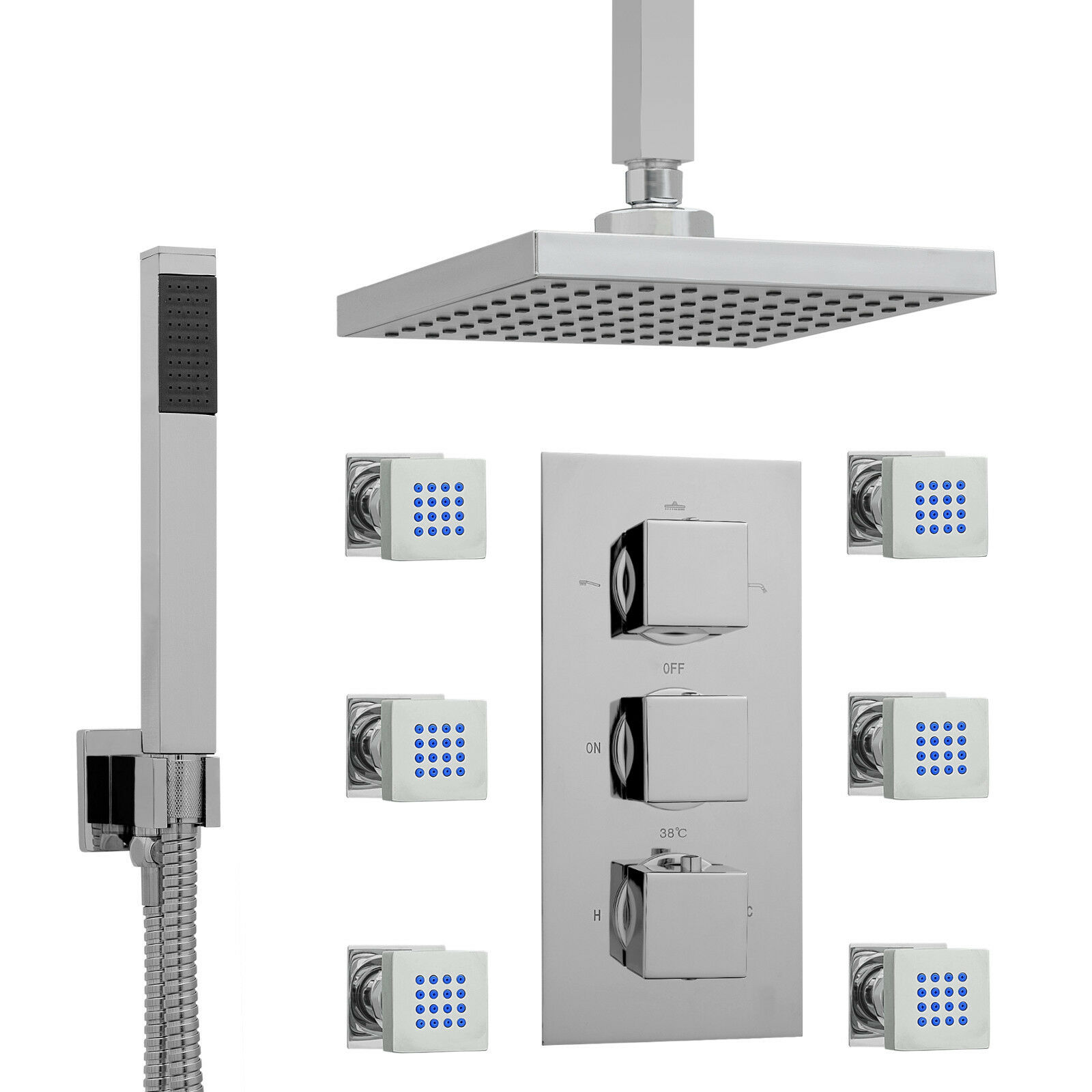 ENKI Concealed Thermostatic Shower Set 3 Way Square Ceiling Jet Body Massagers