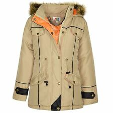 GIRLS PARKA JACKET KIDS PADDED FAUX FUR TRIM HOODED COAT WENDY 1 AGE 7-13 YEARS