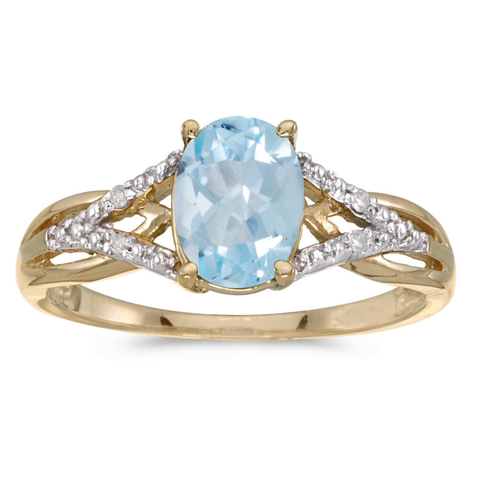 14k Yellow gold Oval Aquamarine And Diamond Ring