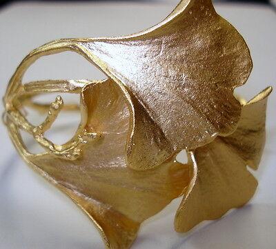 SILVER SEASONS BY MICHAEL MICHAUD ~ GINGKO LEAF GOLD PLATED CUFF (NEW) 7181G