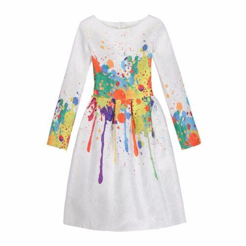 Kids Girls Long Sleeve Floral Girls Dress Holiday Party Weddding Princess Dress