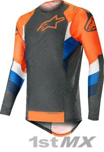 2019 Alpinestars Supertech Anthracite Orange MX Motocross Offroad Jersey Adults
