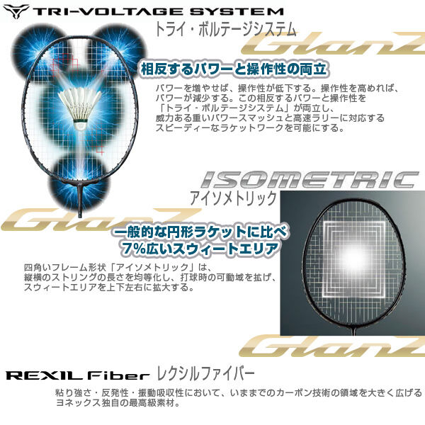 Japan Yonex VOLTRIC GlanZ 4UG5 83g Normal in Grip VT-GZ Unstring  Made in Normal Japan New 3d7afd
