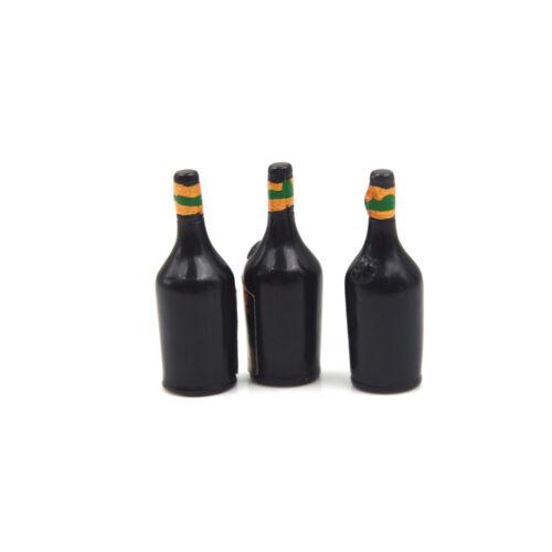 3X Whiskey Wine Bottle Miniature Bar Pub Drink Dollhouse Decor Gift CollectiODUS