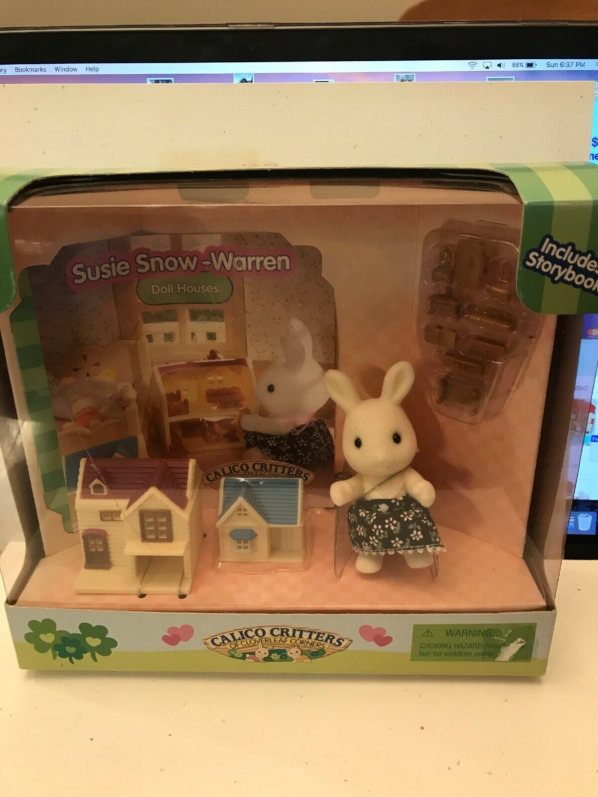 Calico Critters Susie Snow Warren Doll Houses with mini furniture  RARE 2005 NEW