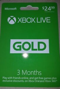 Details about (12 Months total) Four Xbox LIVE 3 Month Gold Membership  Cards (Physical Cards)