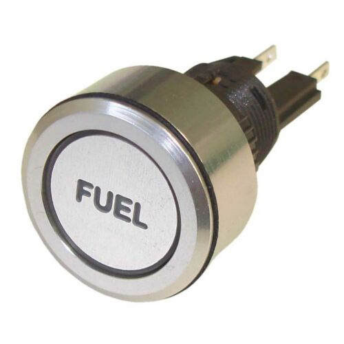 Fuel Rally Engraved Aluminium Push Button Switch Latching Trillogy Race