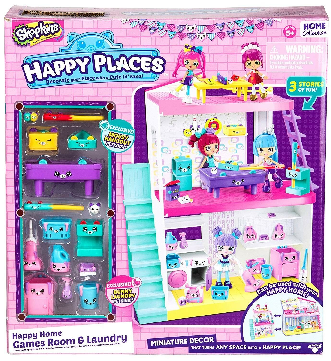 Wow  New Sealed Shopkins Happy Places Happy Home Game and Laundry - New in Box