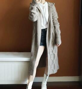 f282519c3f3a Womens Knitted Cashmere Hoodie Long Sweater Cardigan Coats Outwear ...