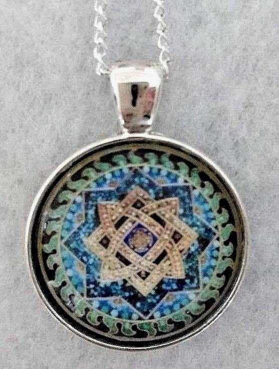 """Mosaic Star 1""""glass Pendant Necklace Handmade Silverplated 20"""" Chain Reiki Bless"""
